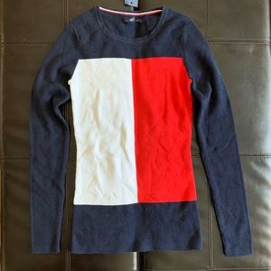 NWT Tommy Hilfiger Logo Color Block Knit Top Navy
